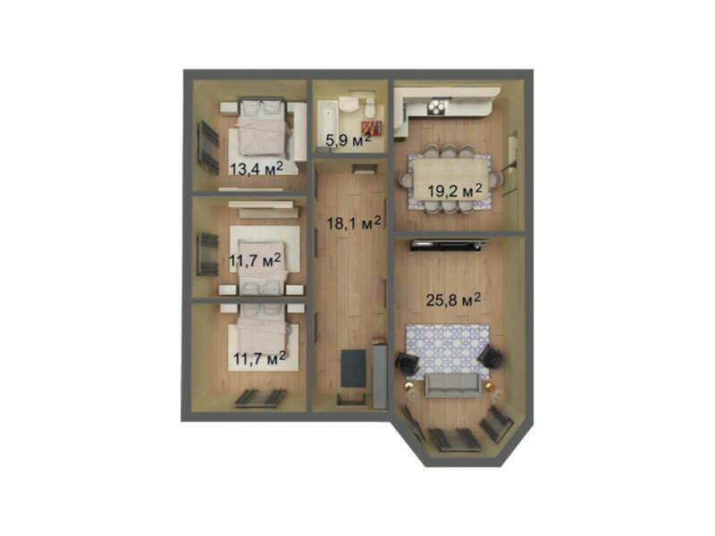 КП Знание 11x11 1 этажный