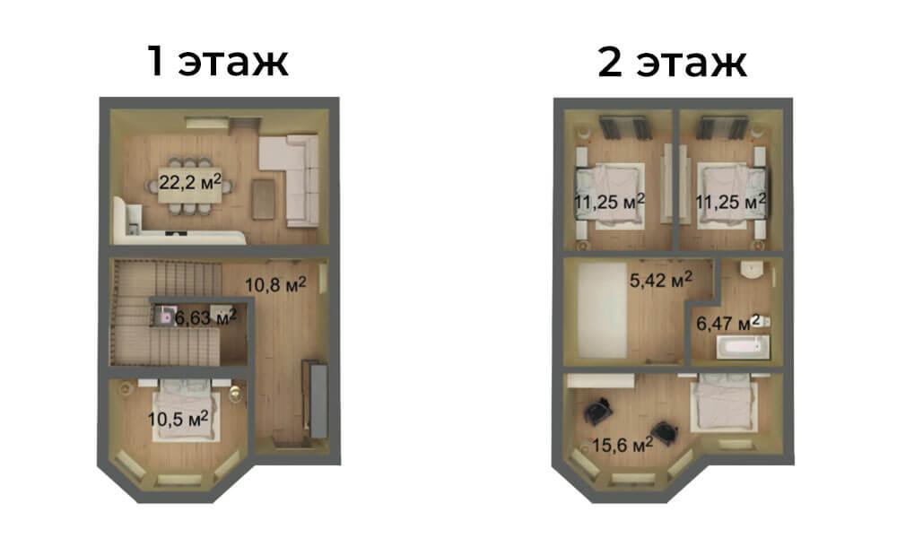 КП Знание 6,6x10 2 этажный малый эркер