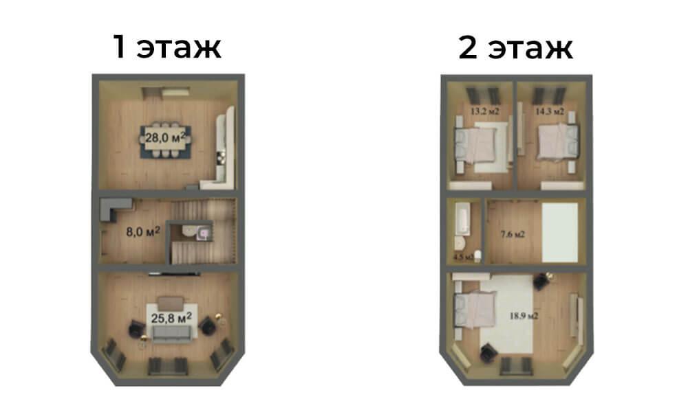 КП Знание 6,6x12 2 этажный большой эркер