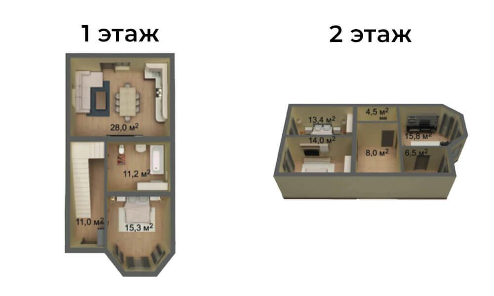 КП Знание 6,6x12 2 этажный малый эркер