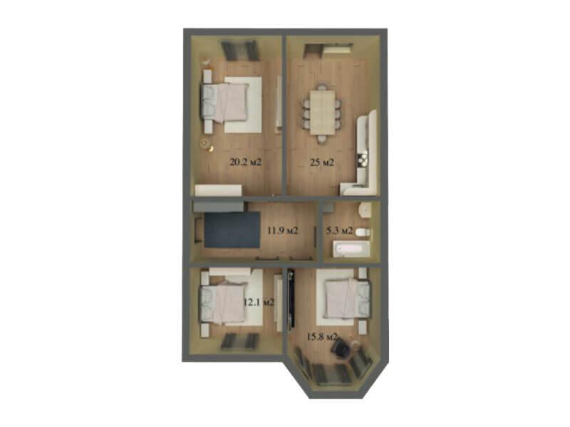 КП Знание 8x13 1 этажный
