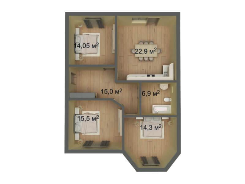 КП Знание 9x11 1 этажный